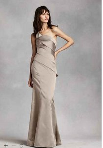 Vera Wang Stone One Shoulder Satin Dress With Asymetrical Skirt Dress