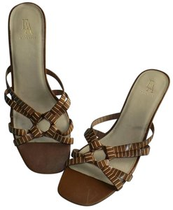 Etienne Aigner Leather Signature Classic Wood Strappy Brown Sandals