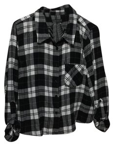 Forever 21 Button Down Shirt Black, white, and gray