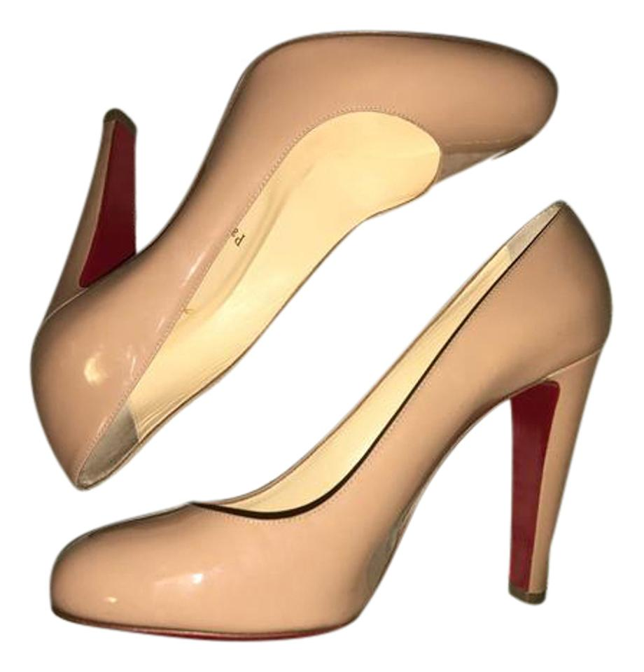 9a821d34047 Christian Louboutin Fififa Thick Heel Patent Leather Nude Pumps Image 0 ...