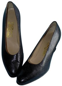 Salvatore Ferragamo Bold Leather Snakeskin Black Pumps
