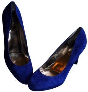 Calvin Klein Bold Classic Signature Leather Suede Cobalt Blue Pumps