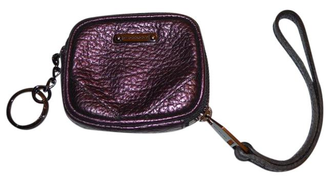 Item - Metallic Grainy Leather Coin Case with Keyring Wallet
