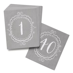 Wedding Charming Vintage Style Table Cards Numbers 1 To 40