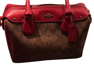 Coach Satchel in red & brown