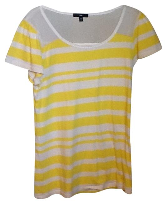 Preload https://item2.tradesy.com/images/gap-yellow-and-white-tee-shirt-size-6-s-2043336-0-0.jpg?width=400&height=650