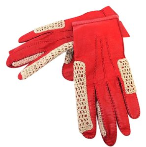 Hermès Red Leather Woven Driving Gloves 213213