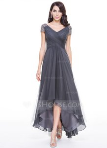 Regency A-line/princess V-neck Asymmetrical Tulle Evening Dress (#56519) Dress