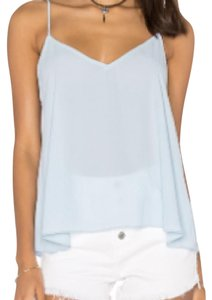 Eight Sixty V-neck Sheer Top Angel Blue