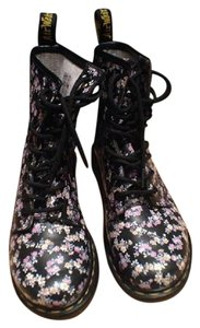Dr. Martens Leather Black with Floral Print Boots