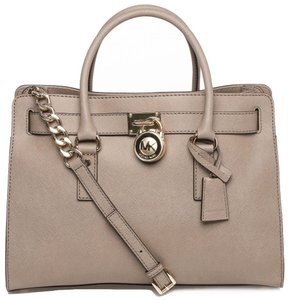 Michael Kors Saffiano Leather Mk Mk Hamilton Mk Large Hamilton Mk Satchel in DARK DUNE TAUPE BROWN/GoldTone Hardware