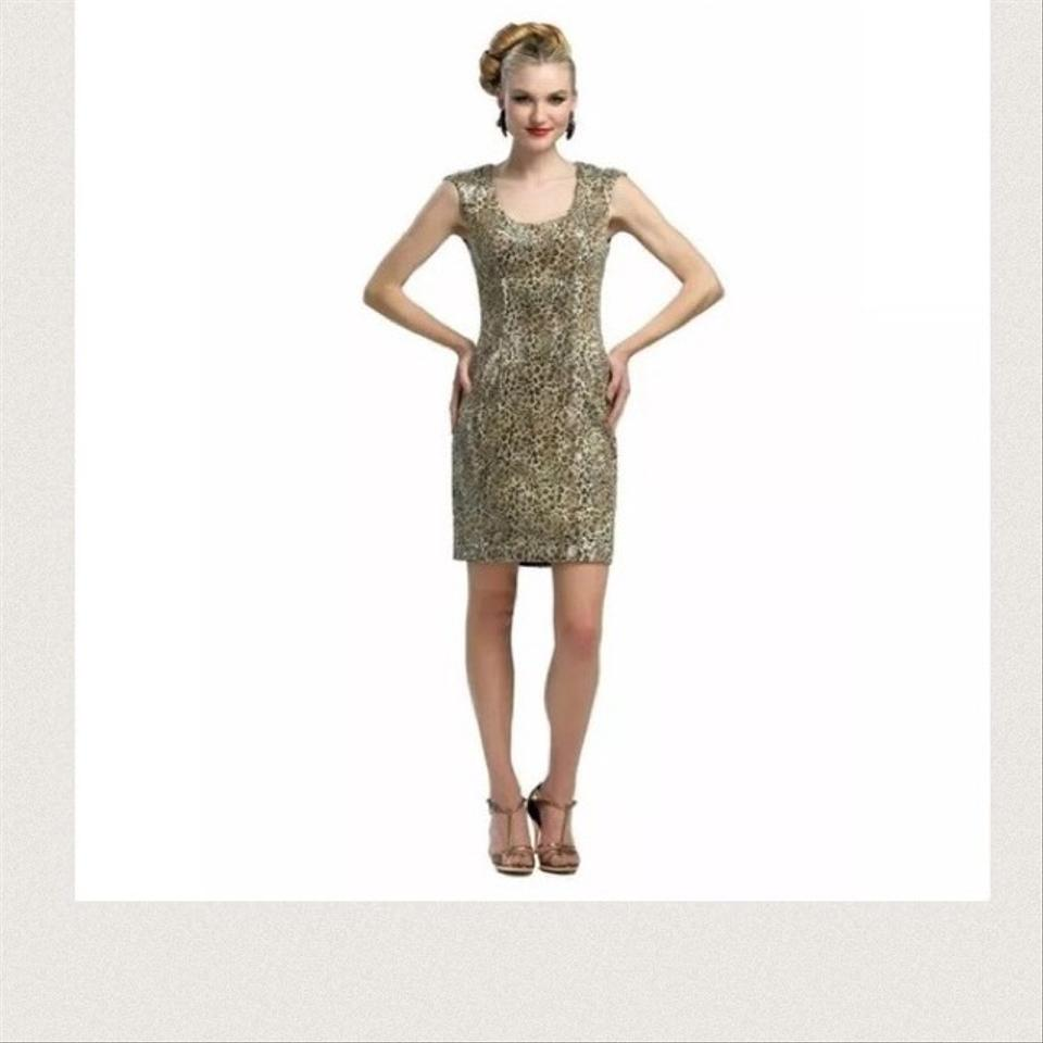 Sue Wong Sequined Leopard Print Above Knee Cocktail Dress Size 2 (XS ...
