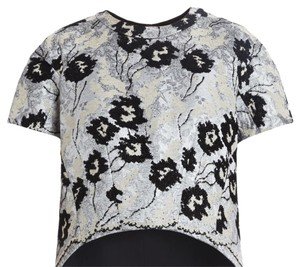 BCBGMAXAZRIA Top Black, Cream, embroidered floral pattern
