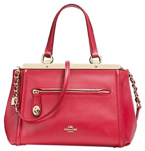 Coach Ahndbag Tote Leather Red Satchel