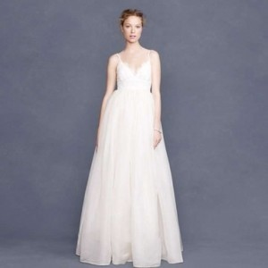 J.Crew Ivory Organza and Lace Principessa Gown Feminine Wedding Dress Size 8 (M)