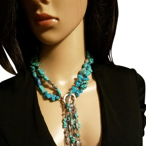 Chico's Turquoise faux necklace wear long or short