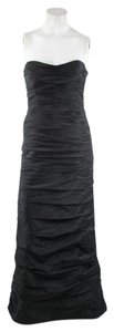 Teri Jon Black Ruched Strapless Gown Dress
