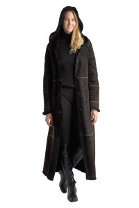 Searle Shearling Leather Wool Wool Leather Coat