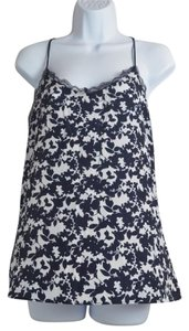 New York & Company Floral Spaghetti Top Black And White