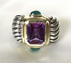 David Yurman David Yurman Cable 14K/18K/SS Amethyst and Green Tourmaline Ring, sz 7
