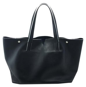 Vince Leather Signature Tote in Black