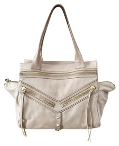 Botkier Trigger Pebbled Leather Studs Tassels Satchel in Beige