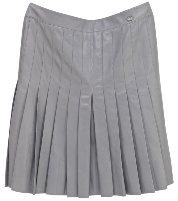 Item - Grey 05a Lambskin Leather Pleated A-line 38 Skirt Size 4 (S, 27)