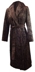 Lafayette 148 New York Faux Fur Belted Maxi Winter Fur Coat