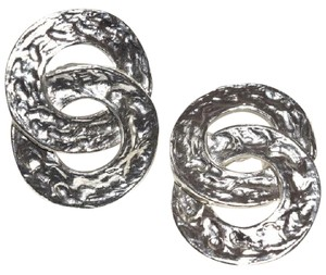 Other Hammered Medallion Sterling Silver Plated Clip On Earrings