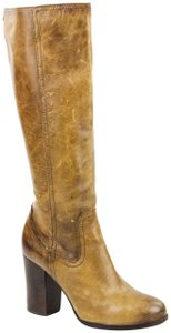 Frye Tall Oiled Antique Pull Up Leather Upper Side Zipper Tan Boots