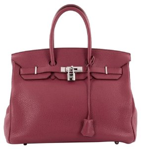 Hermès Hermes Leather Tote in Rubis Red