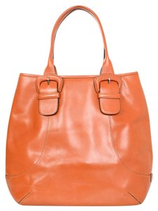 Cole Haan Burnt Leather Buckle Tote in Orange