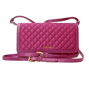 Prada pink quilted nylon & calf leather crossbody bag Cross Body Bag