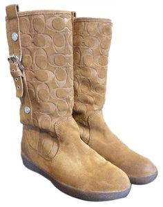 Coach Tullip Embossed Faux Fur Suede Camel Boots