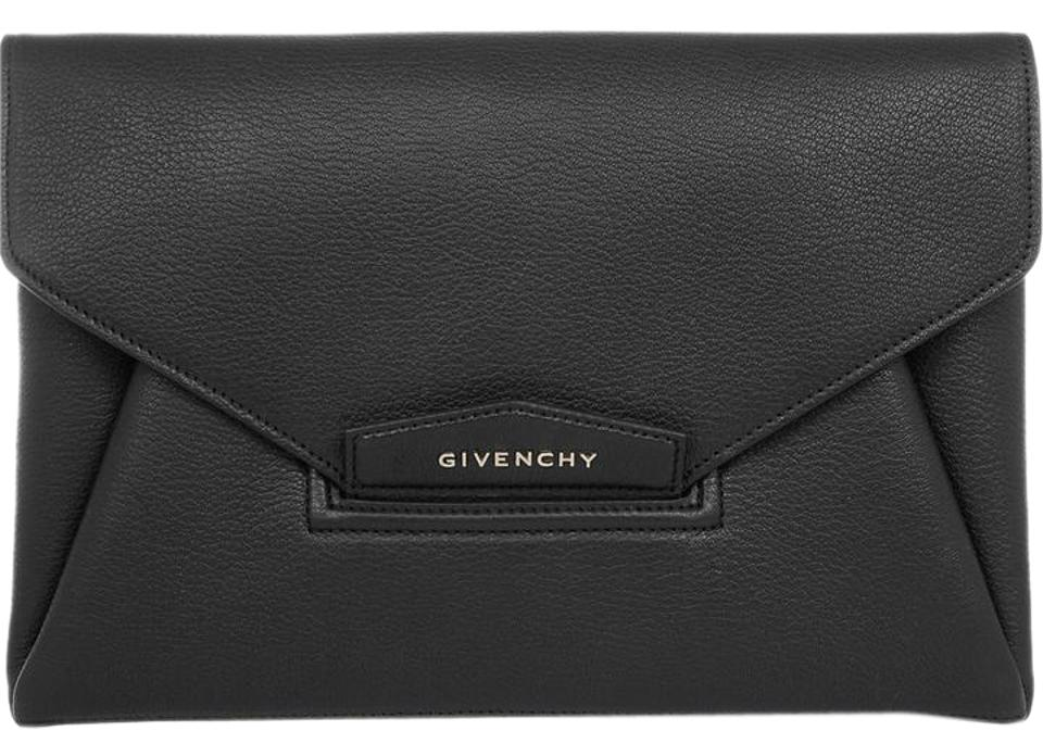 a75c7deb2f Givenchy New Antigona Envelope Evening Goatskin Black Clutch Image 0 ...