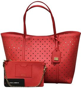Dolce&Gabbana Leather Gold Hardware Limited Edition Perforated Chain Tote in Coral