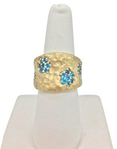 Rivka Friedman Simulated Blue Diamond Flower Band Ring - Size 6