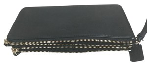 Coach F54056 889532512942 Leather Gold Wristlet in Black