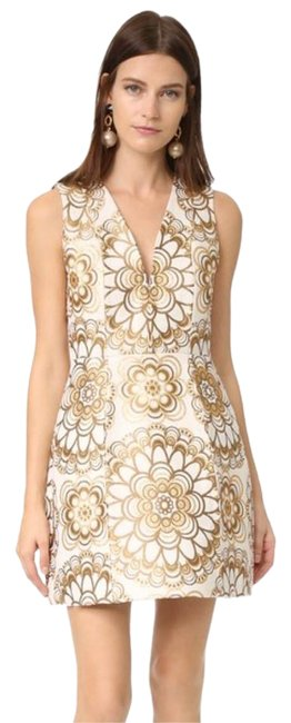 Item - White and Gold Mid-length Night Out Dress Size 4 (S)