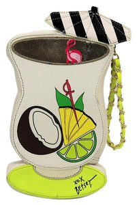 Betsey Johnson Drink Cocktail Flamingo Wrist Strap Wristlet in Multi
