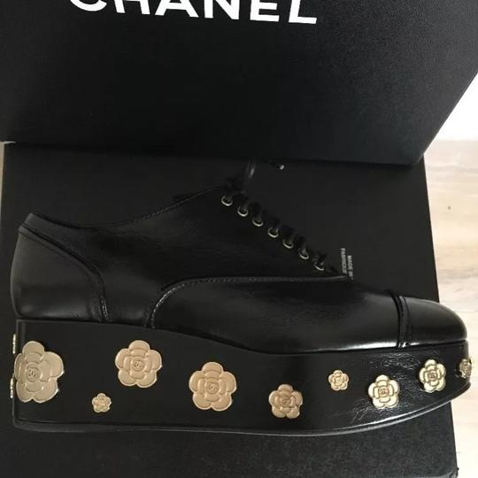 Chanel Camellia Lace Up Embellished Oxford Cap Toe Black Platforms Image 2