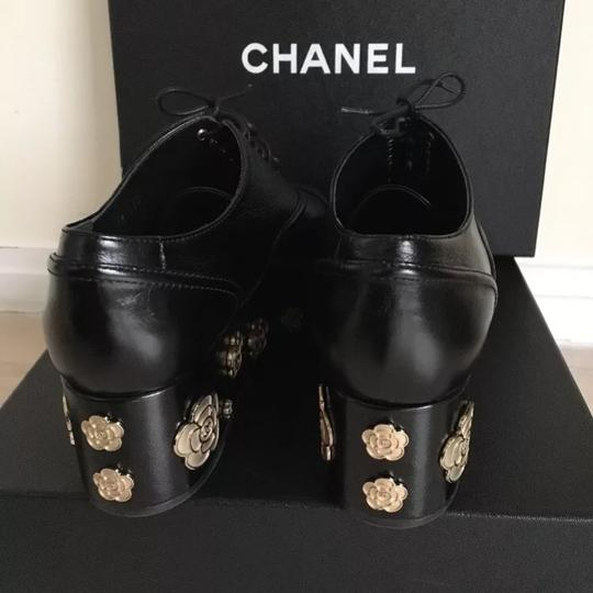 Chanel Camellia Lace Up Embellished Oxford Cap Toe Black Platforms Image 5