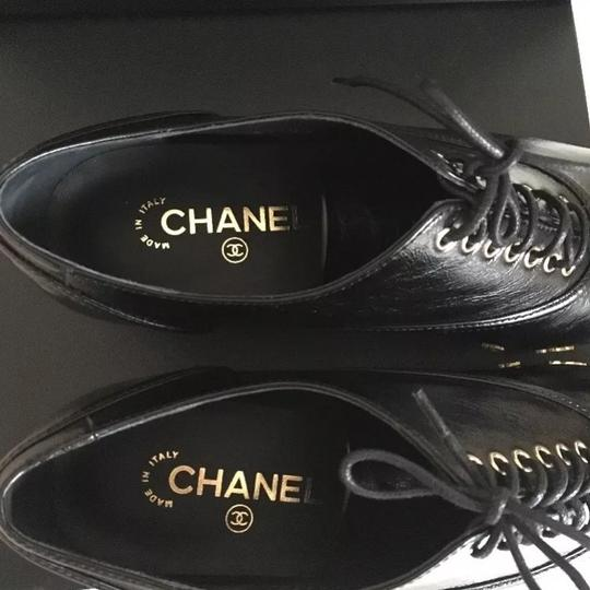 Chanel Camellia Lace Up Embellished Oxford Cap Toe Black Platforms Image 6