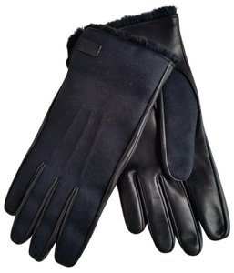 Gucci *New with Tags* Men's Fur-lined Black Cotton/Leather Gloves