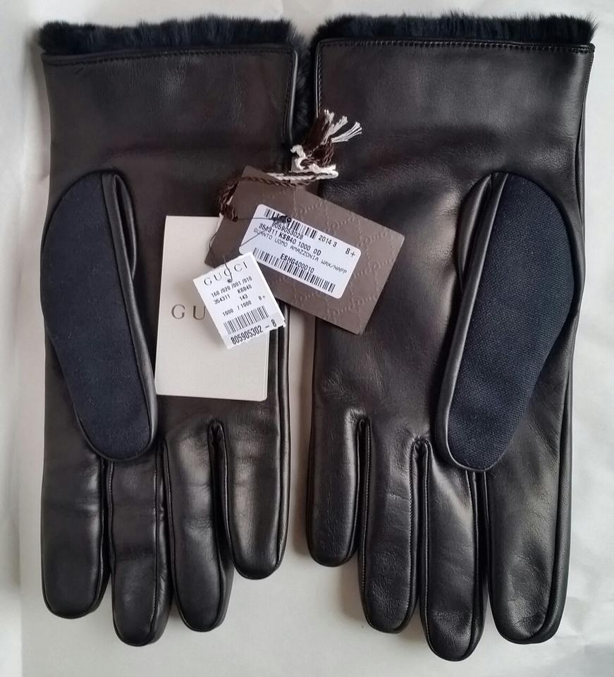 Mens leather gloves fur inside - Gucci New With Tags Men S Fur Lined Black Cotton Leather Gloves