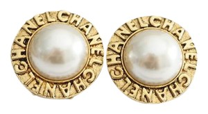 Chanel Authentic CHANEL Vintage Gold Tone Faux Pearl Clip Earrings