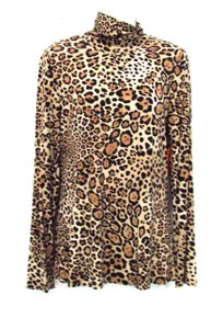 Yansi Fugel Leopard Print Knit Mock Neck Top Brown