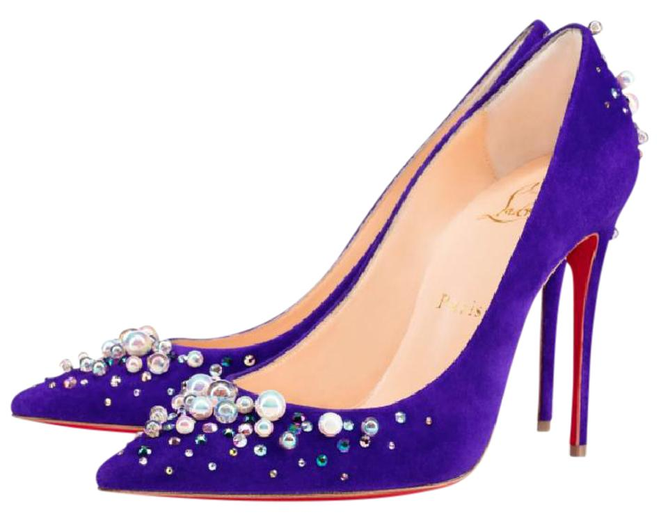 Christian Louboutin Purple Candidate #924 Pearl Strass Crystal 100 Heels #924 Candidate Pumps bdfbc5
