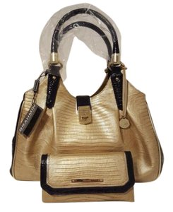 Brahmin Tri Texture Leather Gold/ink Wallet Large Set Hobo Bag