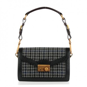 Prada Brown Pebbled Leather Black Clutch